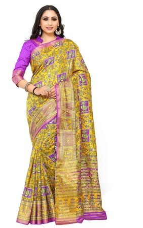 KUPINDA Silk Kalamkari Block Print Work Saree - Multi