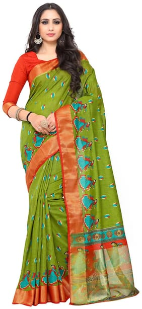 KUPINDA Silk Kalamkari Zari work Saree - Green , With blouse