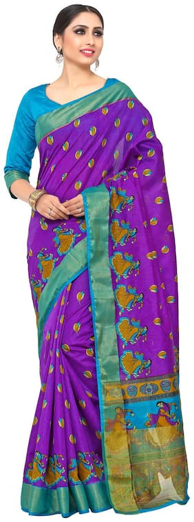 Kupinda kalamkari Style Raw Silk saree color: Purple (4190-SALN-10-PT-VLT)