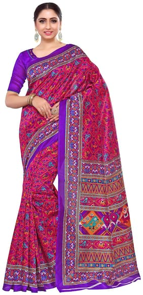 KUPINDA Silk Patola Zari work Saree - Pink , With blouse