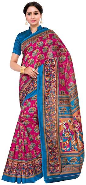 Kupinda Kalamkari Print Art Silk saree Color:Pink (4234-TK-08-RNI-TUS)