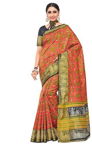 KUPINDA Silk Kalamkari Block print work Saree - Multi , With blouse