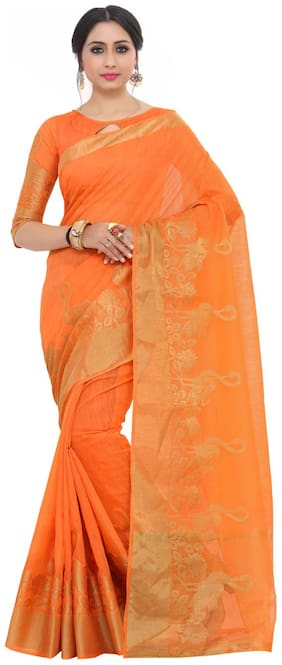 Kupinda kanjivaram Style Art Silk saree Color:Orange (4199-2196-SD-PCH)