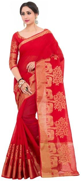 KUPINDA Silk Kanchipuram silk Zari work Saree - Multi , With blouse