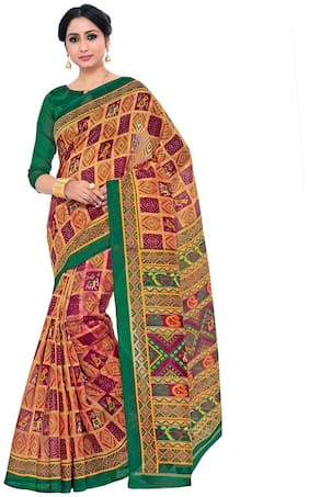 Kupinda patola Print Art Silk saree Color:Brown (4232-TK-06-MEJ-GRN)