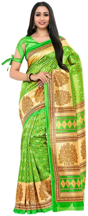 Kupinda patola Print Art Silk saree Color:Green (4233-TK-07-PGN-TUS)
