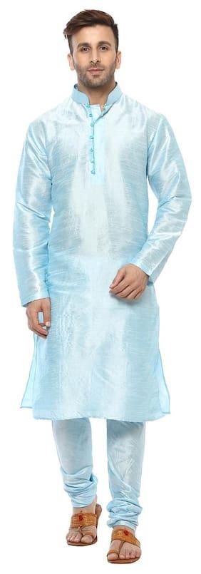 Hangup Men Regular Fit Silk Full Sleeves Solid Kurta Pyjama - Blue