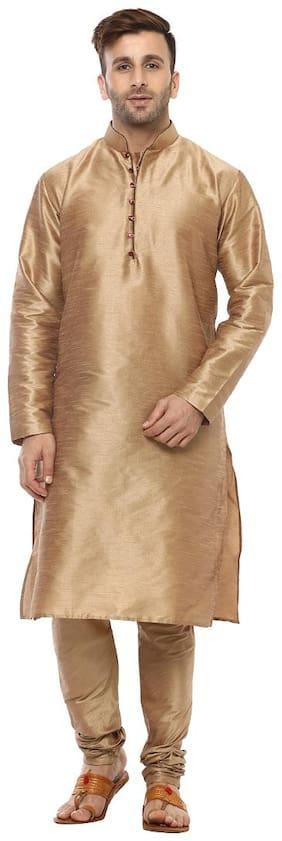 Hangup Men Regular Fit Silk Full Sleeves Solid Kurta Pyjama - Brown