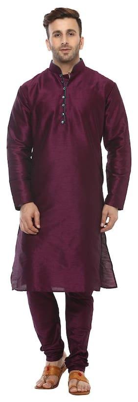 Hangup Men Regular Fit Silk Full Sleeves Solid Kurta Pyjama - Maroon