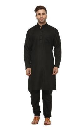 Hangup Men Regular Fit Cotton Full Sleeves Solid Kurta Pyjama - Black