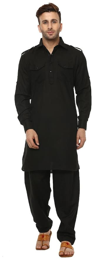 Hangup Men Regular fit Cotton Full sleeves Solid Kurta Pyjama - Black