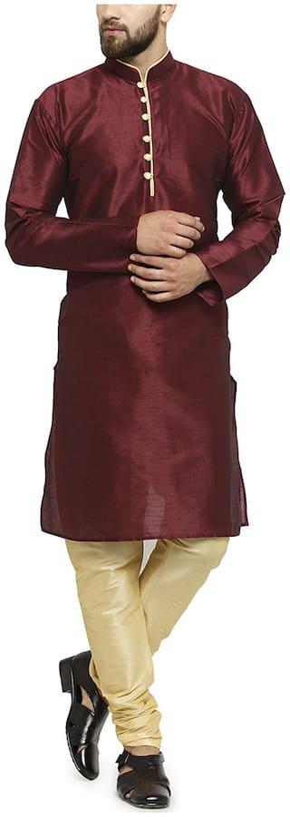 Larwa Men Regular fit Silk Full sleeves Solid Kurta Pyjama - Maroon