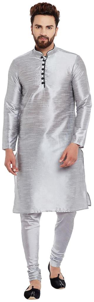 Larwa Men Regular Fit Silk Full Sleeves Solid Kurta Pyjama - Grey