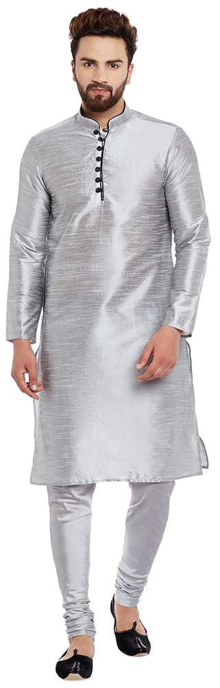 Larwa Men Regular Fit Silk Full Sleeves Solid Kurta Pyjama - Grey