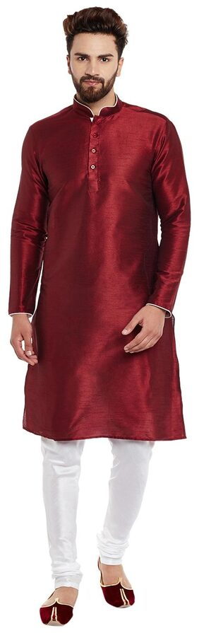 Larwa Men Regular Fit Silk Full Sleeves Solid Kurta Pyjama - Red