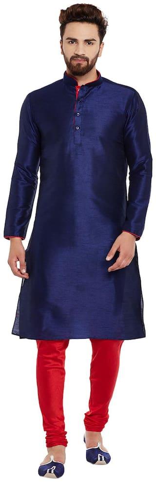 Larwa Men Regular Fit Silk Full Sleeves Solid Kurta Pyjama - Blue