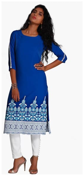 NAARI Women Viscose Embroidered A line Kurti - Blue
