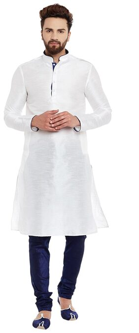 Larwa Men Regular Fit Silk Full Sleeves Solid Kurta Pyjama - White