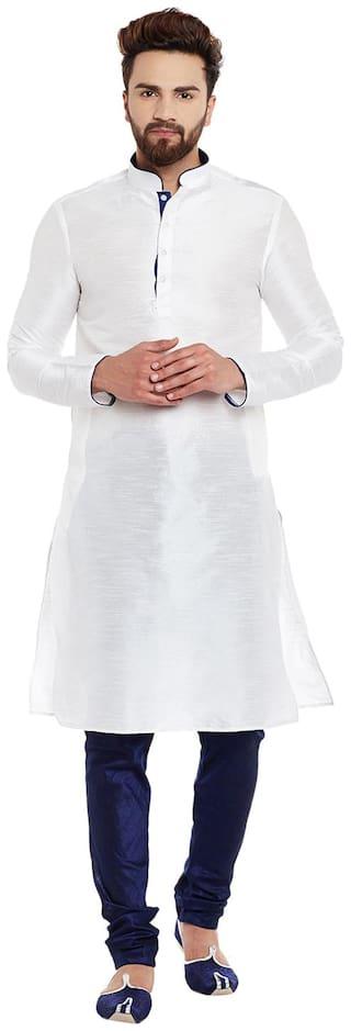 Larwa Men Regular Fit Silk Full Sleeves Solid Kurta Pyjama - White