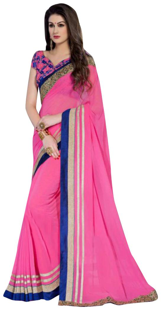 Kusum Creation Georgette Embroidered Pink Color Saree with Blouse