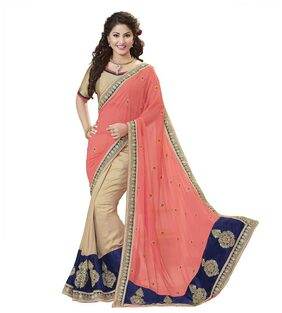 Kvsfab Peach & BeigeGeorgetteEmbroidery WorkHalf N Half Saree