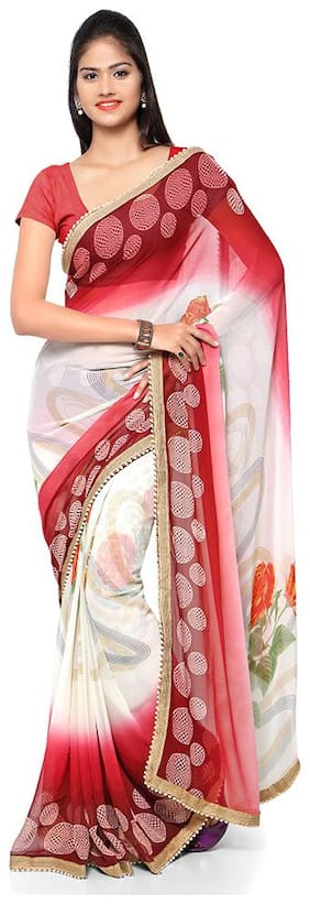 Kvsfab White & Red Pure Georgette Printed Party Wear Saree,KVSSR8503Kavya_14