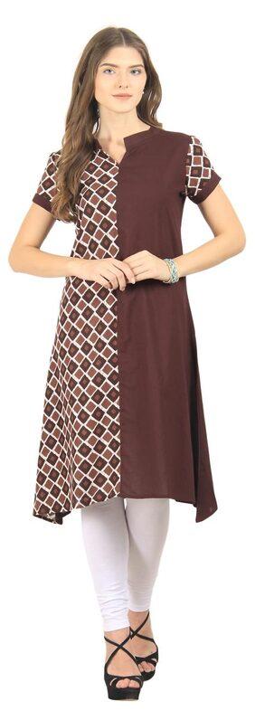 La Firangi Women Cotton Straight Kurti - Brown