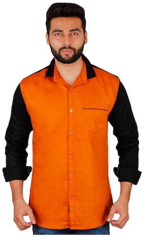 La Milano Men Orange Solid Regular Fit Casual Shirt