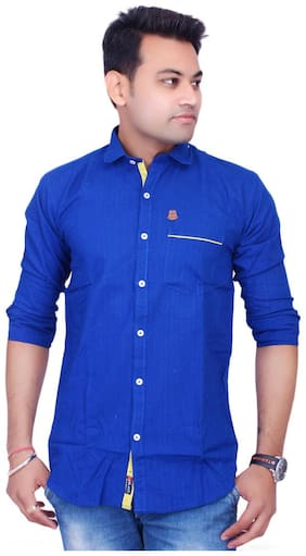 La Milano Men Blue Abstract Slim Fit Casual Shirt