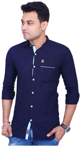 La Milano Men Blue Solid Super Slim Fit Casual Shirt