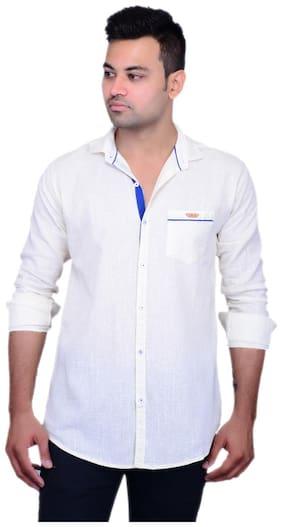 La Milano Men White Abstract Slim Fit Casual Shirt