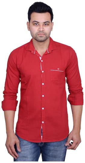 La Milano Men Red Abstract Slim Fit Casual Shirt