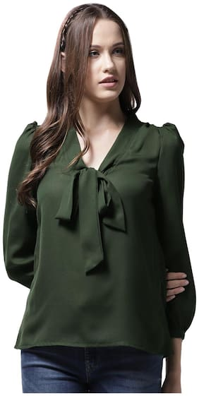 La Zoire Women Solid Regular top - Green