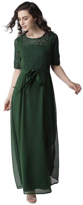 La Zoire Green Solid Maxi dress