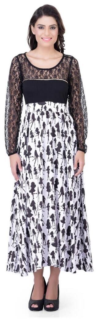 Laabha Women Printed Evening Dress With Net Trims On Sleeve And Yoke