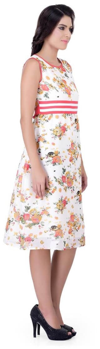 Dress Over Women On Laabha Waist Highlighted With Pretty Flowers Pink And Trims All EAxxqRdw