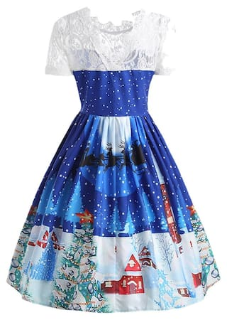Dress Panel Lace Christmas 50s Print Swing 6YwxzRq10