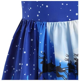 Panel Print Dress Christmas 50s Lace Swing 8xwqZd08R