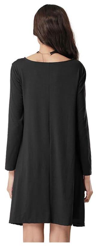 Bandage Color S Dress Lady Solid V Black Sleeved Deep Long Collar qX0qT