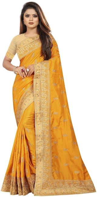 Lady Luck Embroidered Dola Silk Saree