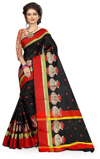 678119f275 Buy Lady Raiment Cotton Universal Embroidered Work Saree - Black ...