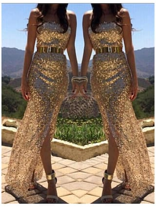 Dress Sequins Party Long Ball Gold S Prom Bridesmaid Cocktail 0fIgq