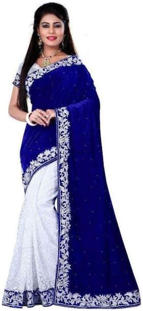 LADY SHOPI Blue Embroidered Universal Regular Saree With Blouse , With blouse