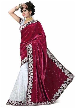 Lady Shopi Women Embellished Velvet Saree With Unstitched Blouse Piece (Maroon;White)