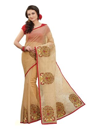 Laethnic Beige Supernet Checks Saree