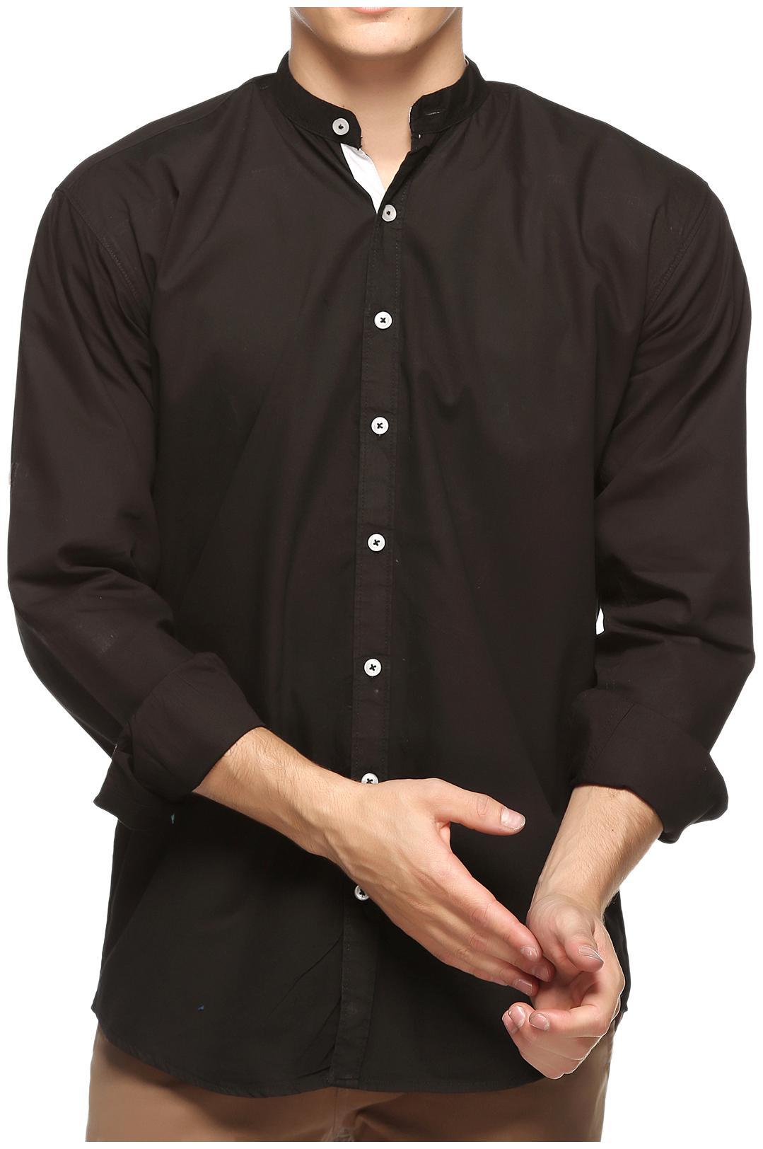 Lafantar Men Black Solid Slim Fit Casual Shirt