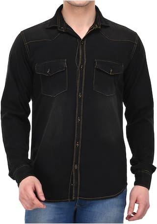 Lafantar Men Black Solid Slim Fit Casual Shirt