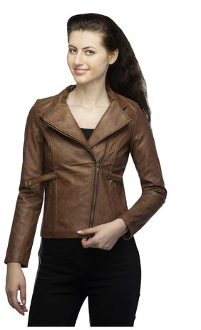 Lambency Biker Full Sleeves Brown Women Winter & Seasonal Jackets
