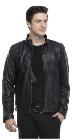 Lambency Men Leather & Blended Slim Jacket - Black