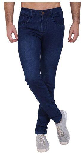 Landloper men's stretchable slim fit monkey wash blue denim jeans